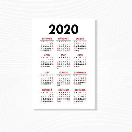 Kalender Poster 60x40cm Ac260 Gsm Offset